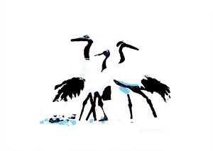 Japanese crane Christmas card A6 when folded (packs of 5)